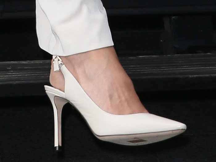 Closeup of the Jimmy Choo 'Erin' slingback pumps in white leather on Jessica Alba