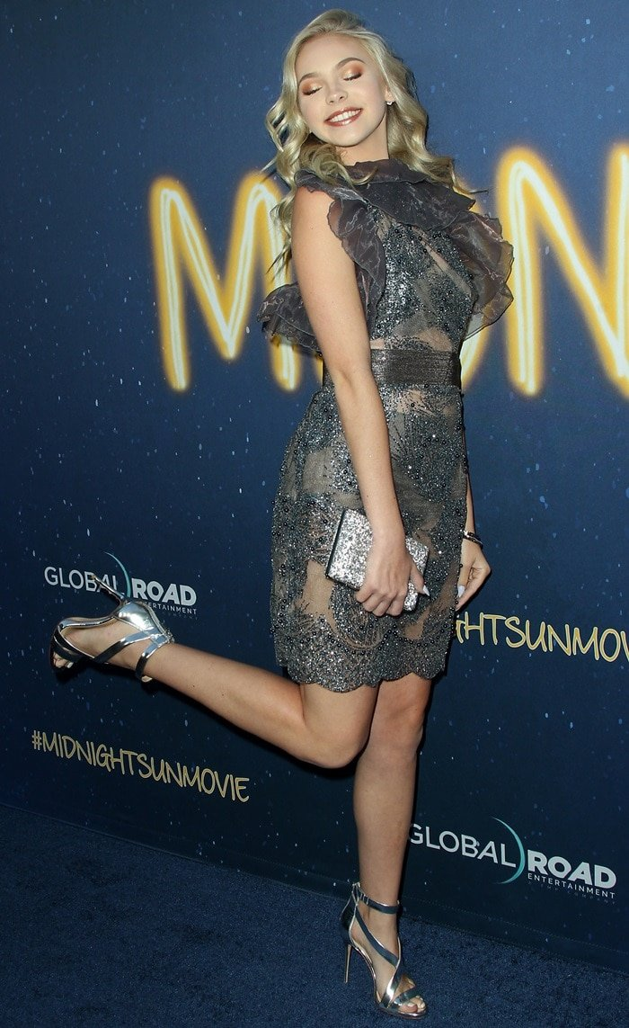 Jordyn Jones flaunted her long legs in a chic gray dress