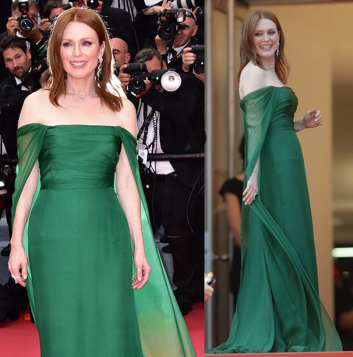 Julianne Moore donned an emerald green Dior Haute Couture gown
