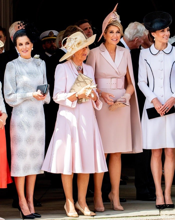 Queen Letizia of Spain, Camilla Duchess of Cornwall, Queen Maxima of the Netherlands, Catherine Duchess of Cambridge during Order of the Garter service, a service for the Most Noble Order of the Garter, at St George's Chapel in Windsor Castle