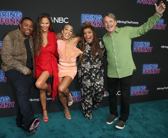 Amanda Seales is the host of Bring the Funny and the judges are Kenan Thompson, Chrissy Teigen, and Jeff Foxworthy