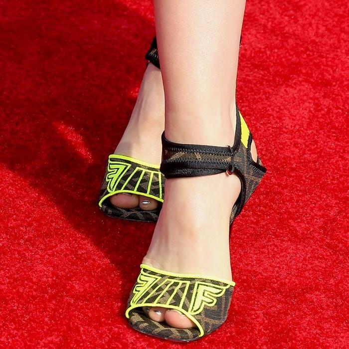 Kiernan Shipka's sexy feet in fugly Fendi sandals