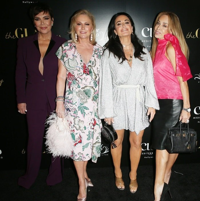 Kris Jenner posing with Paris' mother Kathy Hilton, Paris' aunt Kyle Richards, and television personality Faye Resnick