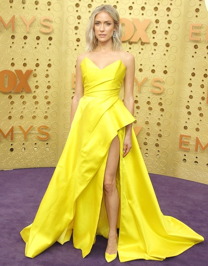 Kristin Cavallari wearing a yellow Nicole Felicia Couture dress at the 2019 Emmy Awards