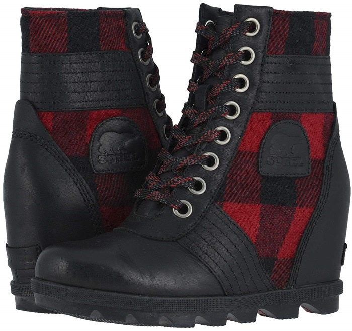 Black Amp Tartan Lexie Wedge Waterproof Boots By Sorel