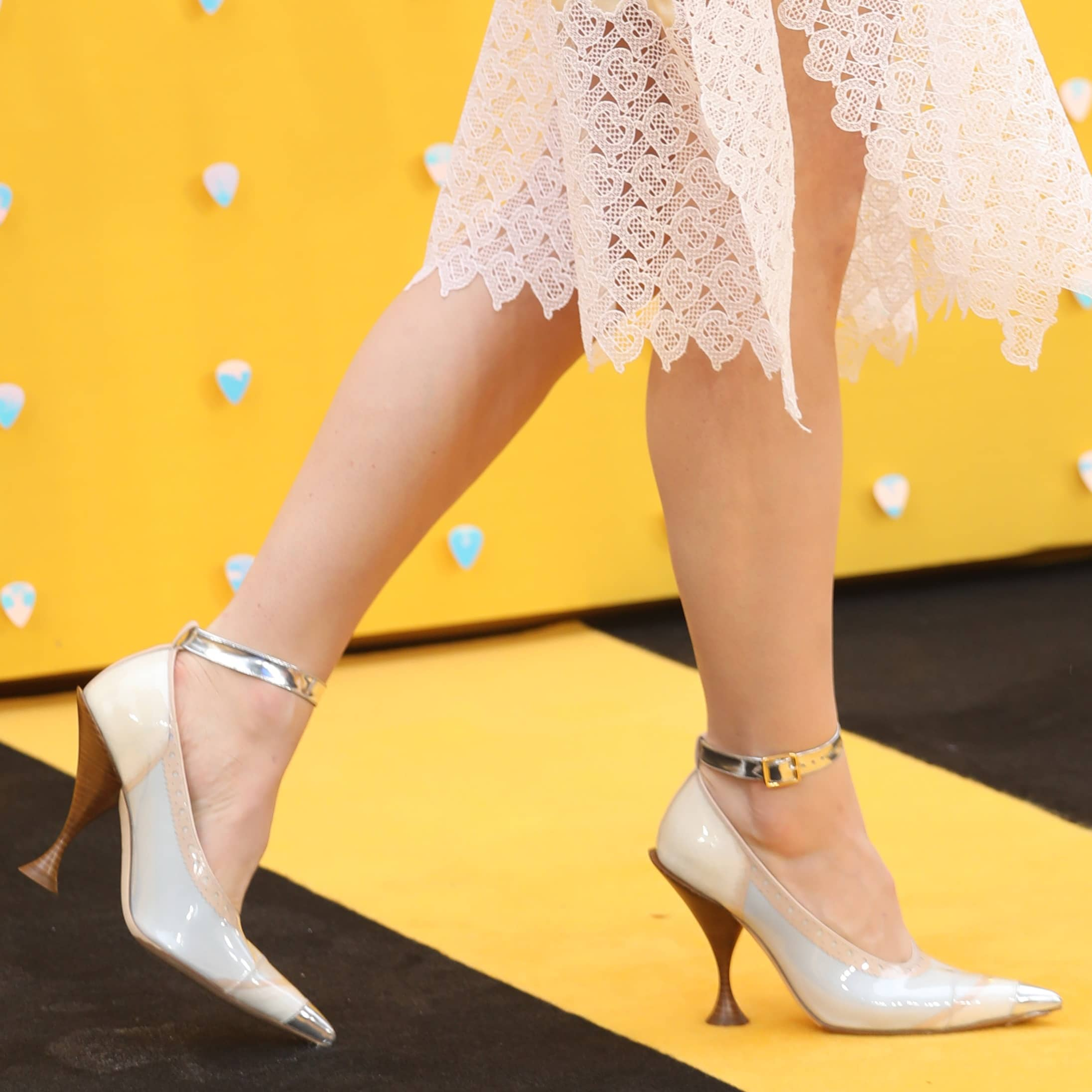 Lily James flashed her hot legs in sexy Burberry heels