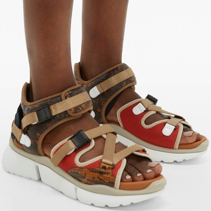 Lizard-effect leather multi-strap sandals