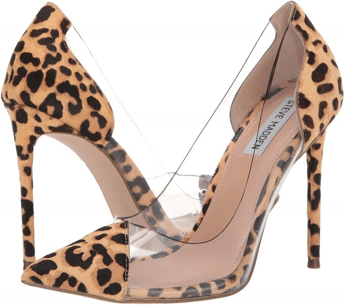 Leopard spotted pony hair puts a fun feline twist on this sexy stiletto pump from Steve Madden