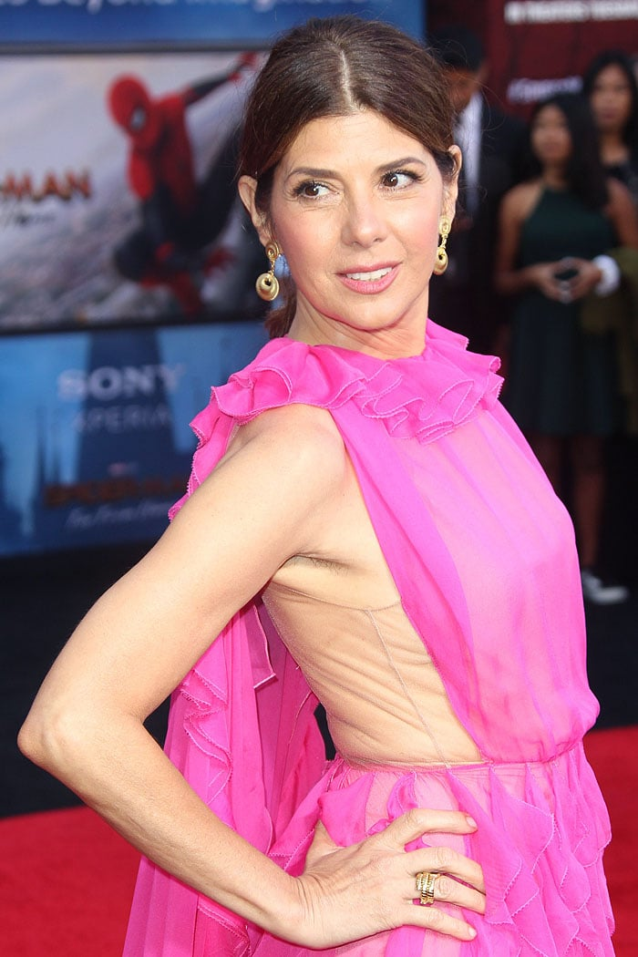 Marisa Tomei rocking armpit hair in a Valentino Fall 2019 pink ruffled dress
