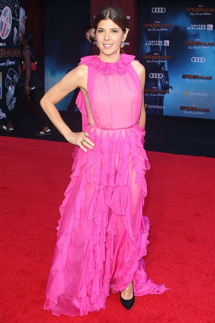 Marisa Tomei wearing basic black pumps with her pink gown at the Spider-Man: Far From Home premiere