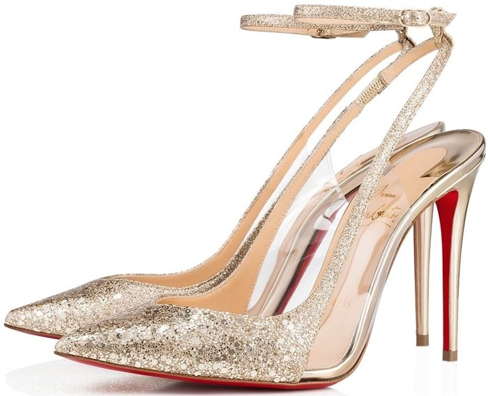 The Optichoc pump is crafted in Glitter Ecu and laminated fabric sprinkled with a gradient of metallic glitter