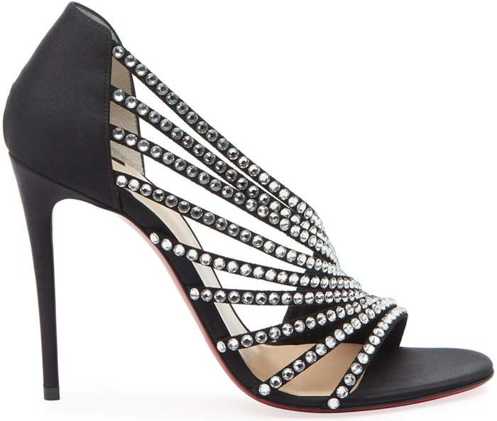 Christian Louboutin satin sandals with curved, crystal-studded straps over instep