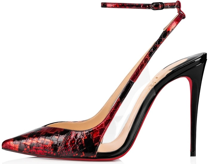 These mixed media slingback pumps flaunt luxe snakeskin leather