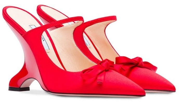 Prada angled heel satin pumps in red