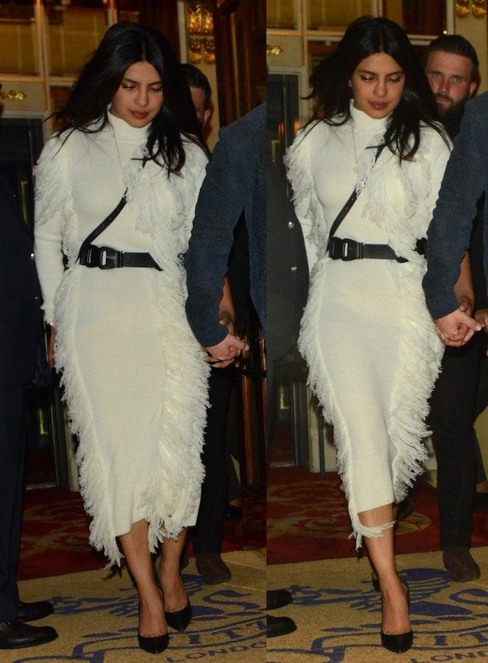 Priyanka Chopra flashed her legs in a white, long-sleeved David Koma dress