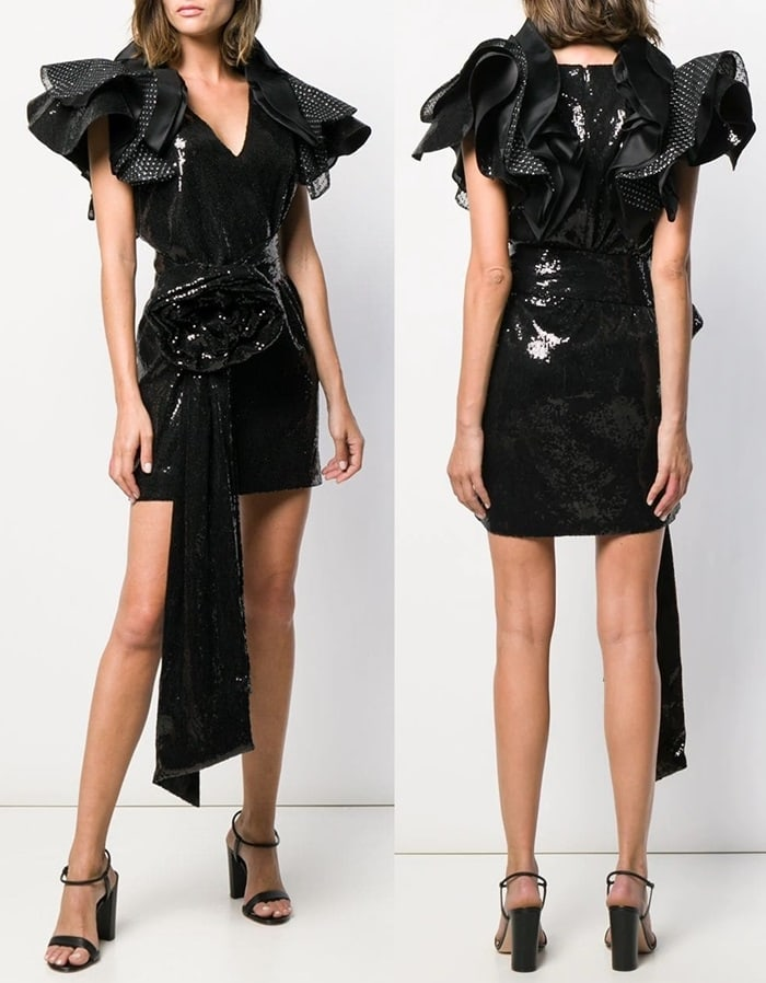 Black ruffled sleeve sequin dress from Redemption featuring a deep V neck, a concealed rear zip fastening, a belted waist, crystal embellishments, a short length and a flower detail