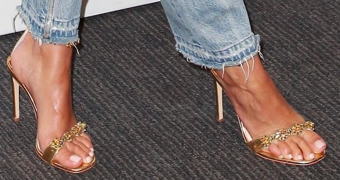 Rita Ora's hot feet in Sophia Webster Aaliyah sandals