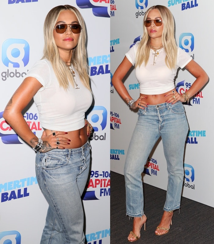 Rita Ora underdressed in cropped Helmut Lang jeans and a white ReDone x Hanes 1960s t-shirt for the Capital FM Summertime Ball