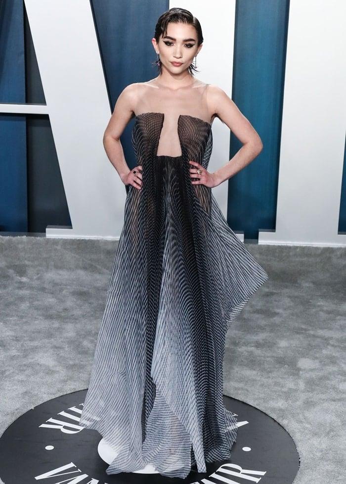 Rowan Blanchard wears an Iris van Herpen dress, Sophia Webster shoes, and Tiffany jewelry