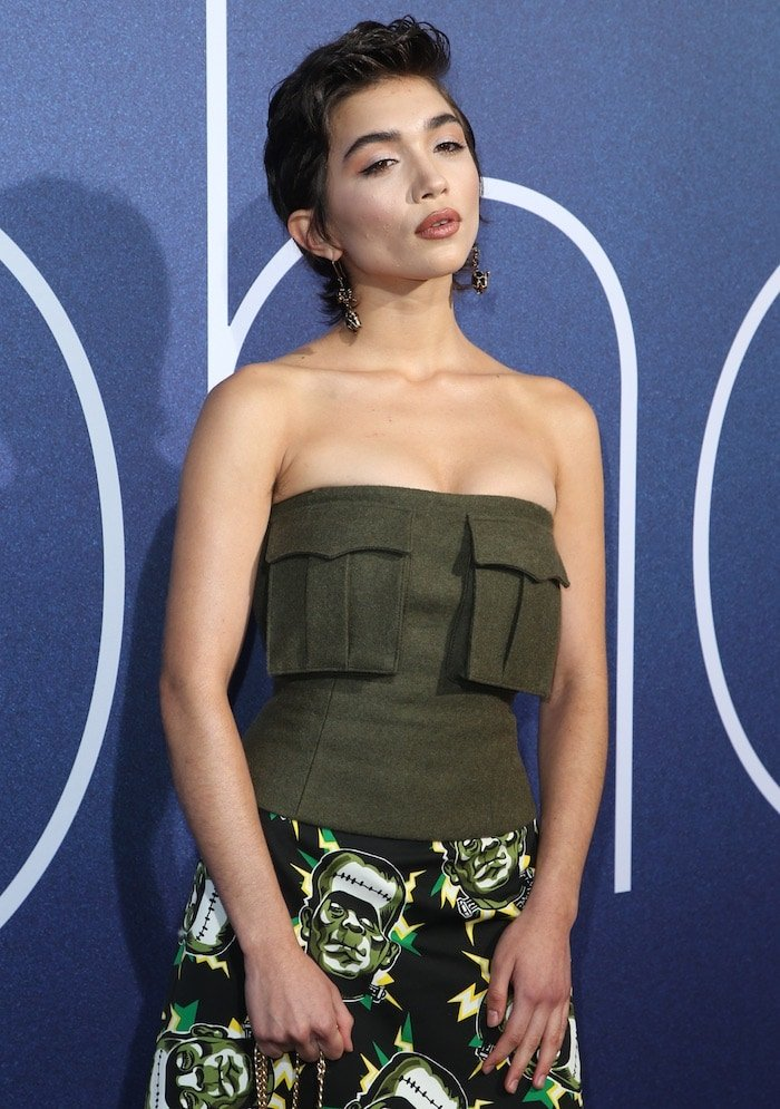 Rowan Blanchard's military green bustier top also from Prada's Fall 2019 collection had large distracting pockets.