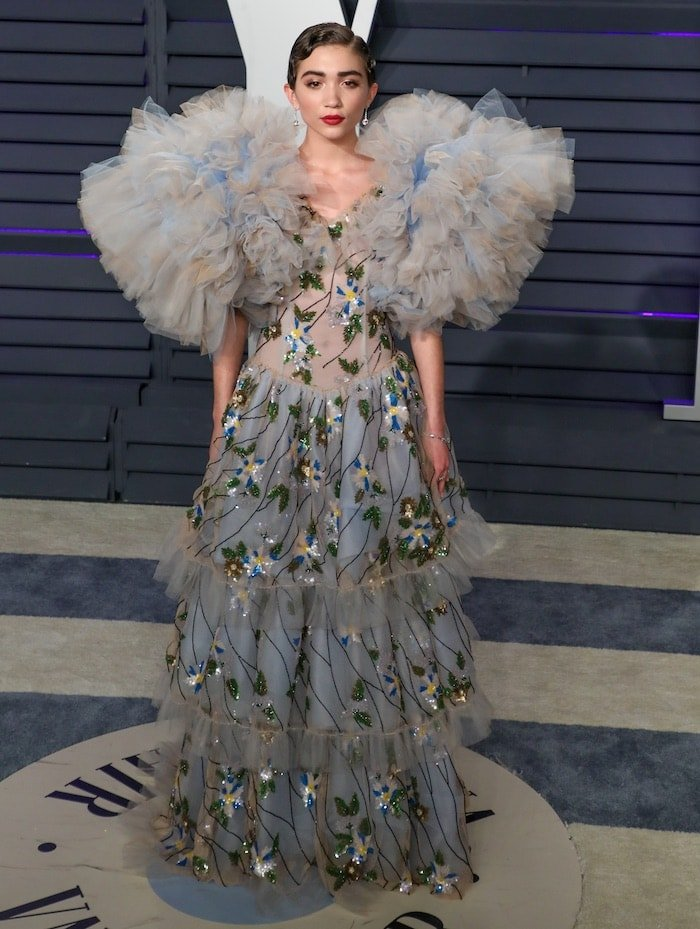 Rowan Blanchard in a unique, puff-sleeved Rodarte Spring 2019 gown at the Vanity Fair Oscars Party earlier this year.
