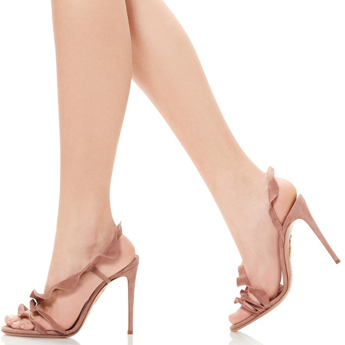 Aquazzura brings a signature playful twist to classic silhouettes for Pre-AW19 with these dusty-pink Ruffle sandals