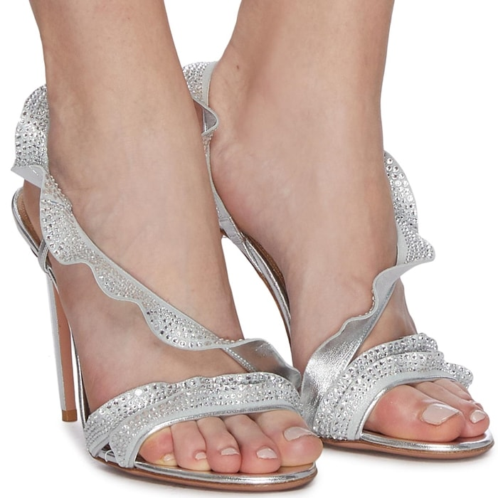 Glass Crystal Ruffle Leather Sandals