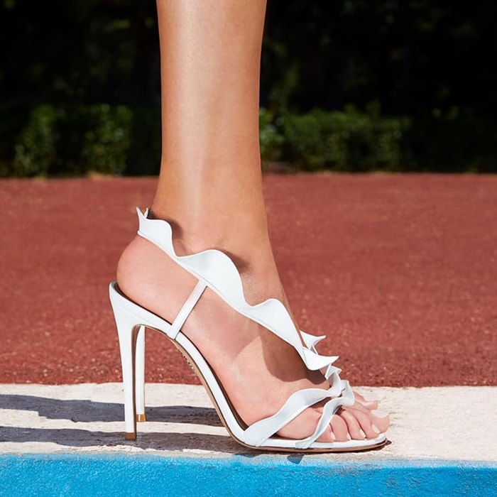 White Ruffle Leather Sandals