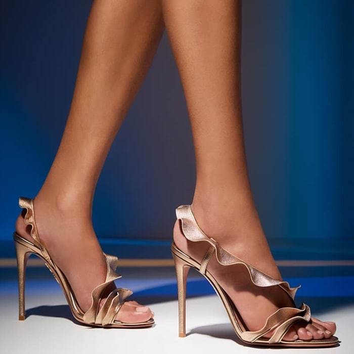 Glossy Light Copper Ruffle Leather Sandals