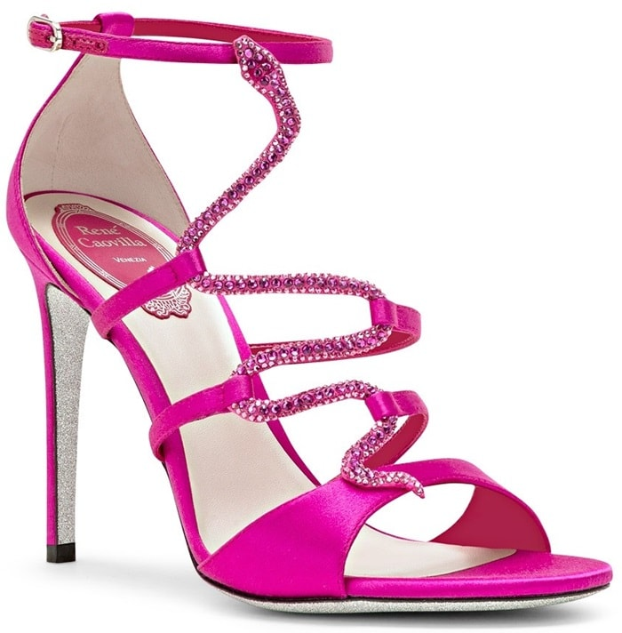 Serpiana sandal in fuchsia-pink satin with a covered tonal stiletto heel and featuring an adjustable ankle strap with a small side buckle