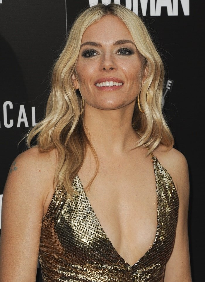 Sienna Miller's hot gold Ralph Lauren Spring 2019 dress