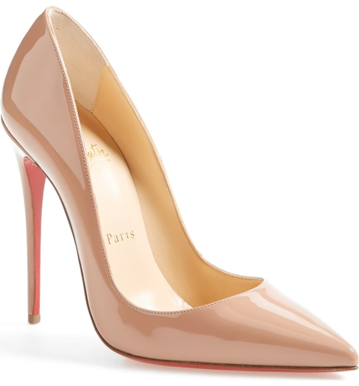 This glossy pump boasts Christian Louboutin's finest stiletto heel, set near-vertical to dramatically shape your gait into a jaw-dropping stride