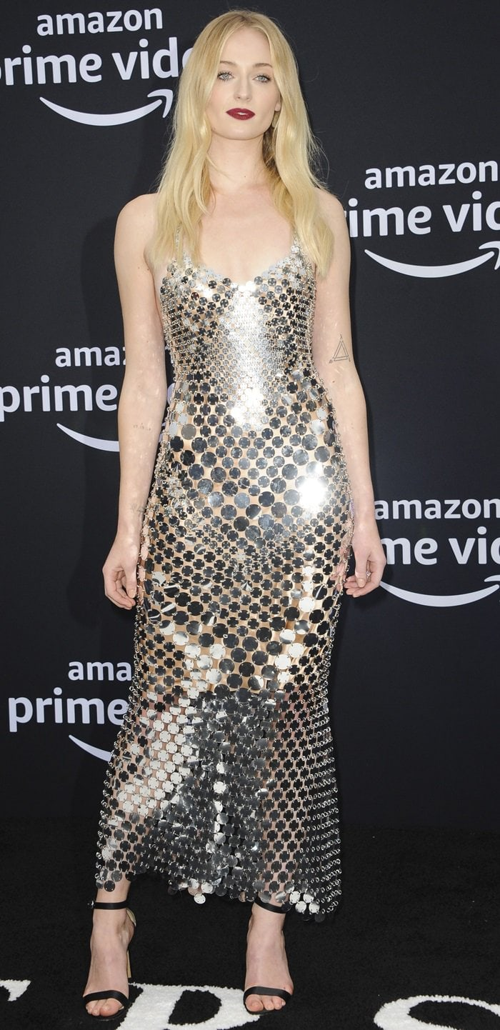 Sophie Turner's silver Paco Rabanne Fall 2019 sequin dress