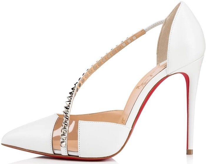 White Christian Louboutin Spike Cross Red Sole Pumps