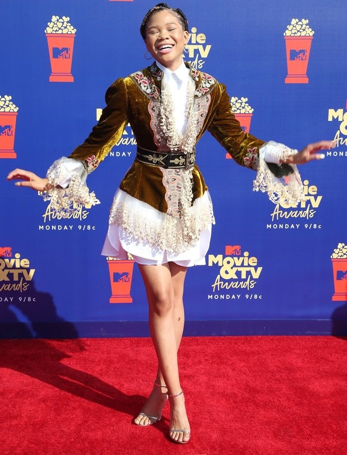 Storm Reid paraded her long legs at the 2019 MTV Movie and TV Awards