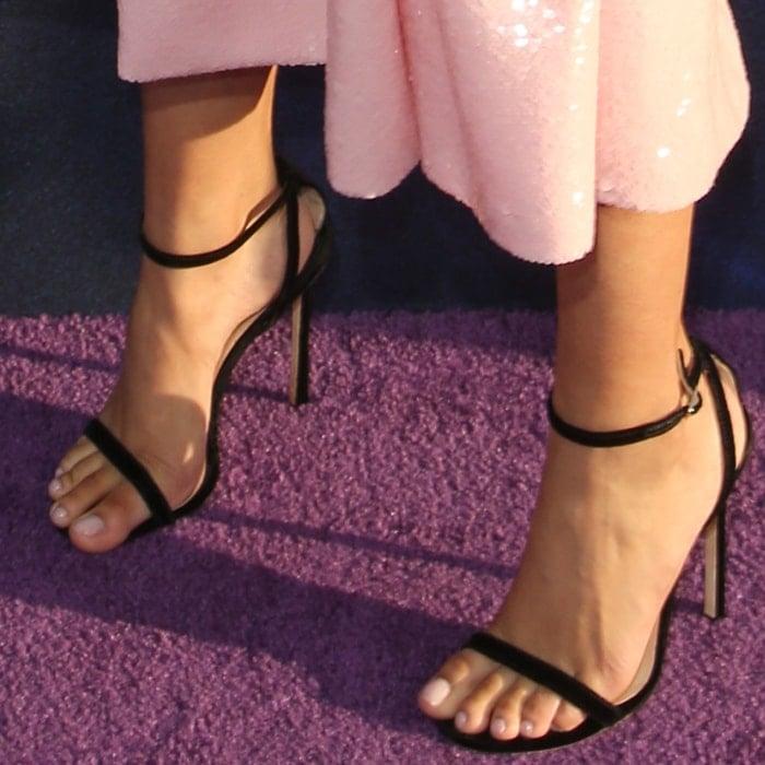 Storm Reid shows off her feet in Jimmy Choo heels
