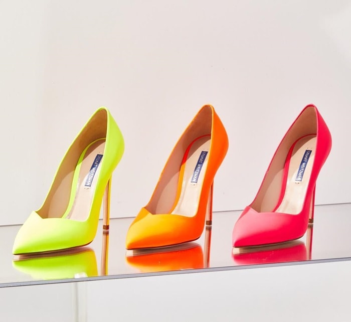Fluorescent Anny Pumps in Neon Yellow, Pink, and Orange