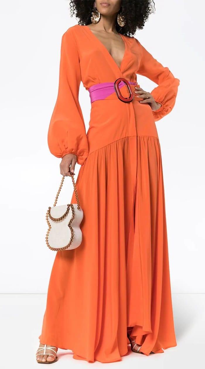 Tangerine Silvia Tcherassi Felicity Belted Deep V Dress
