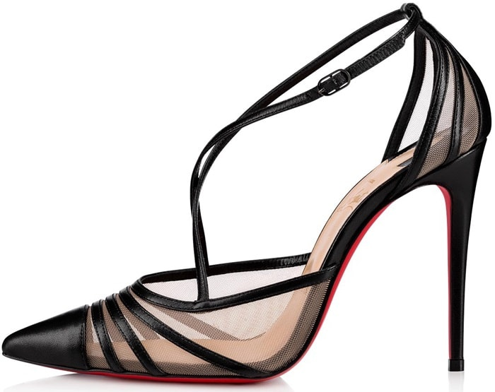 Christian Louboutin's Theodorella pumps are constructed in Italy of black smooth leather and mesh