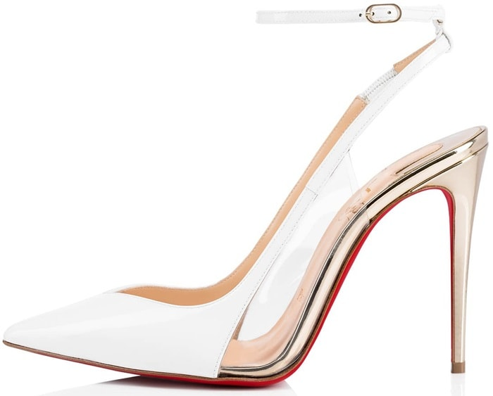 The pair is crafted in Bianco-colored patent leather, while light gold specchio leather is revealed peaking through PVC cutouts, tracing the bold arch and dressing the 100mm stiletto heel