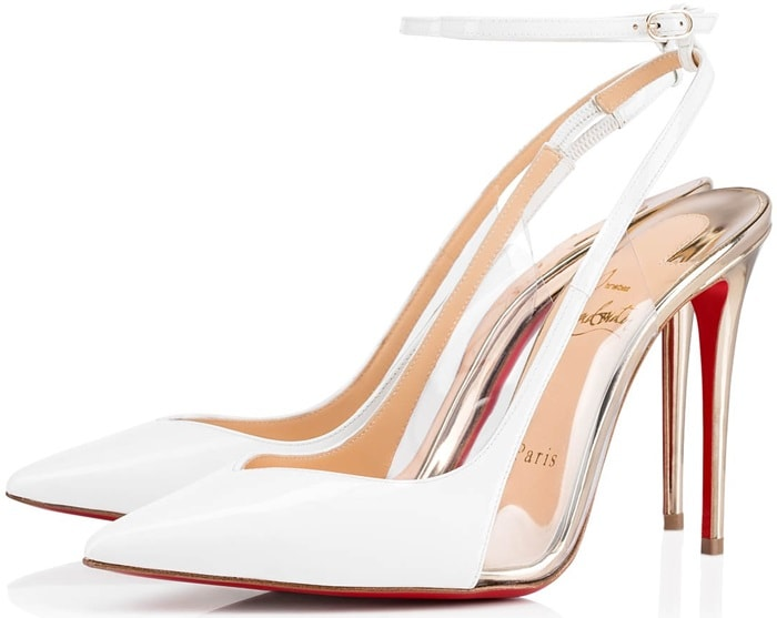 White/Gold Optichoc Leather/PVC Red Sole Pumps