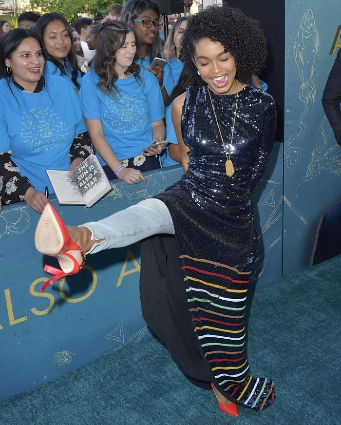 Yara Shahidi's Blade Kelly slingback heels in bright red patent leather