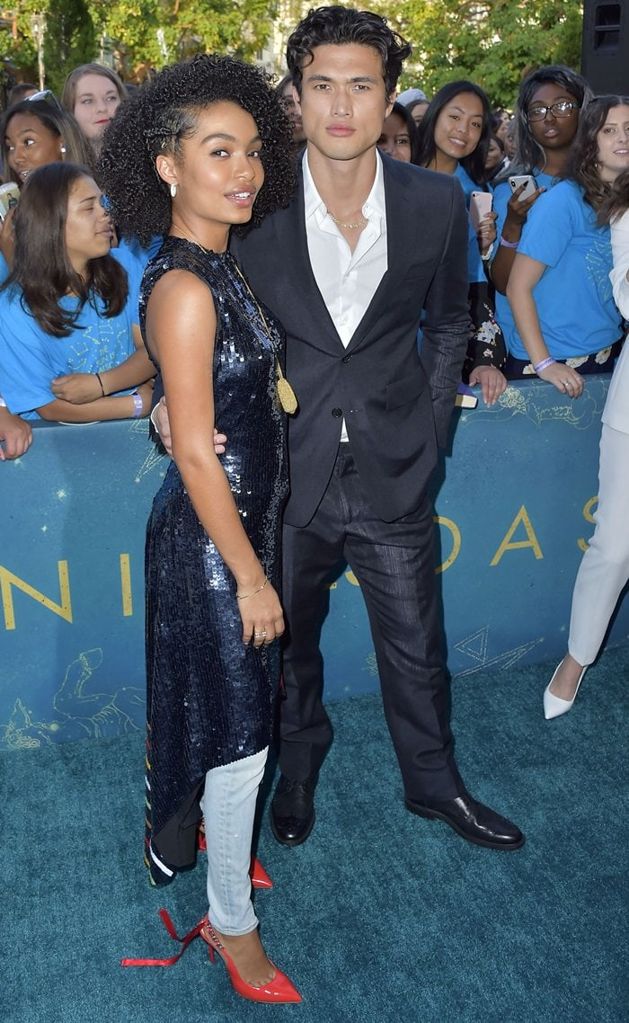 Yara Shahidi and Charles Melton at the premiere of The Sun is Also a Star