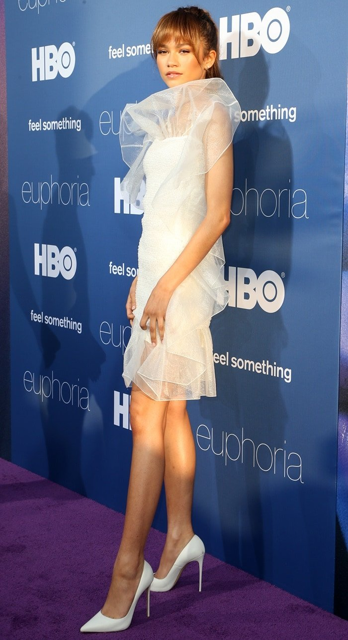 Zendaya flaunted her slender legs at the premiere of her new HBO series Euphoria