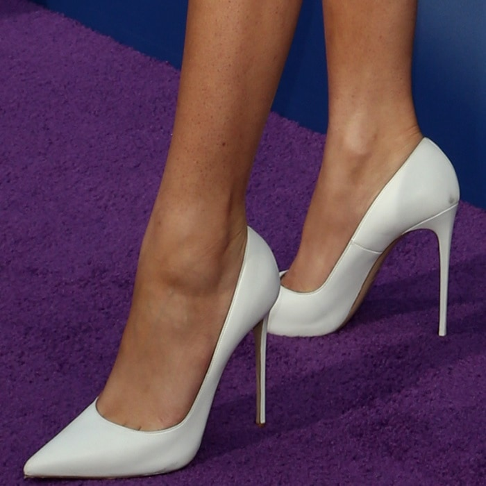 Zendaya's hot feet in white Le Silla pointy-toe shoes