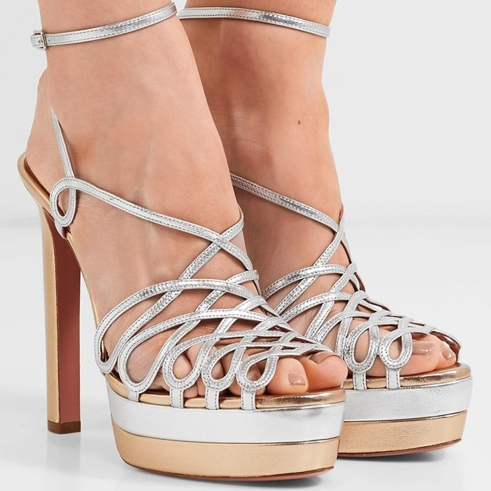 Aquazzura's two-tone sandals nod to glamorous styles worn by Studio 54 regulars like Cher, Jerry Hall and Diana Ross