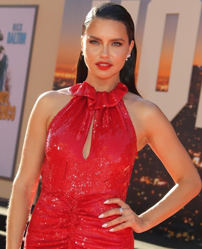 Adriana Lima's red Hilo ruched sequined chiffon midi dress