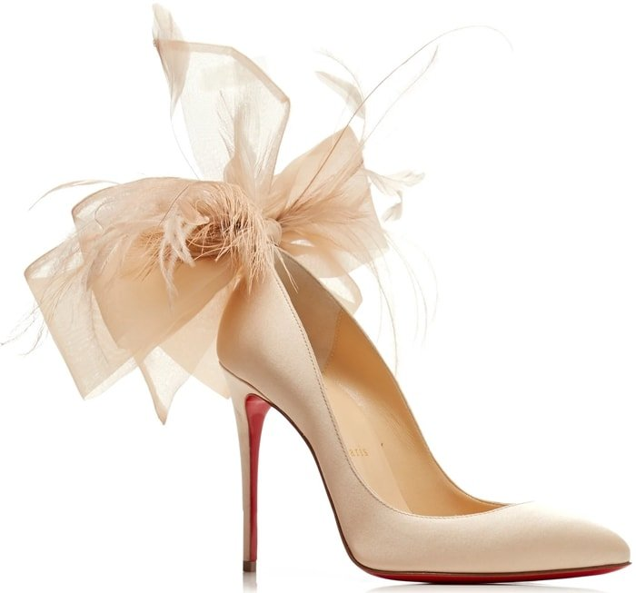 Nude Anemone Bow-Embellished Satin Pumps