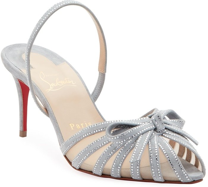 Rows of tiny crystals enhance the effervescent attitude of a slingback Araborda sandal featuring fanned-out straps at the mesh vamp topped with a pert bow