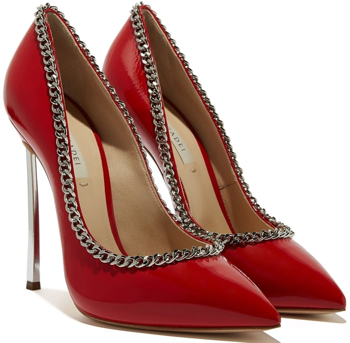 Hard core glamour paired with high gloss finishing for these super sexy traffic red Kristen Blade pumps